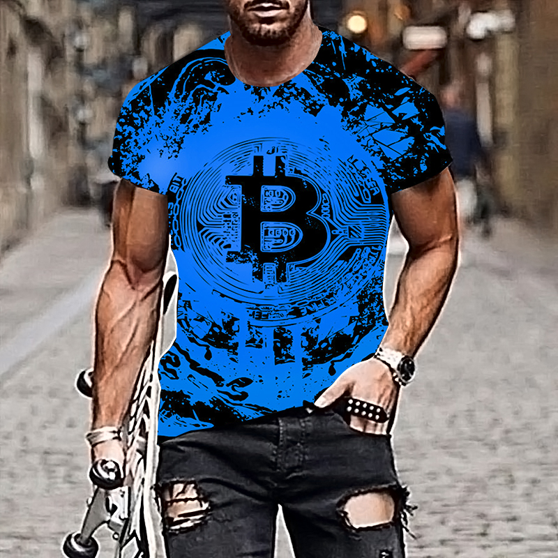 2021 Harajuku Men T-shirt Bitcoin Pattern Style 3D Printing Hip-hop Cool Handsome Plus Size Adult Clothes 4