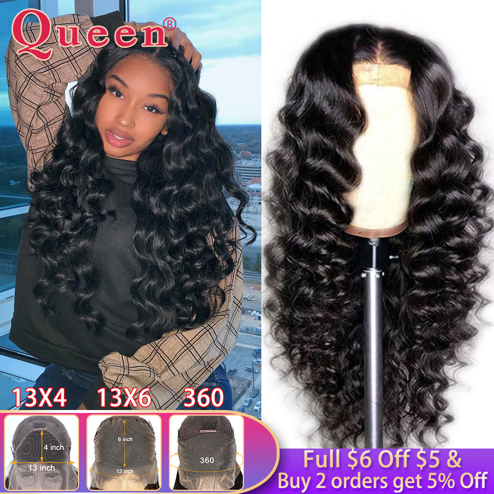Loose Deep Lace Front Human Hair Wigs For Black Women 360 Lace Frontal Wig Brazilian 100% Human Hair Wigs Swiss Lace Queen Hair image
