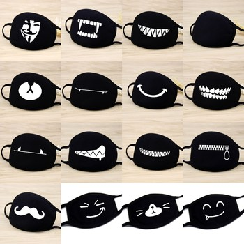 1PC Reusable Washable Black Anti-Dust Cotton Cute Bear Anime Cartoon Mouth Mask Kpop teeth mouth Muffle Face Mouth Masks