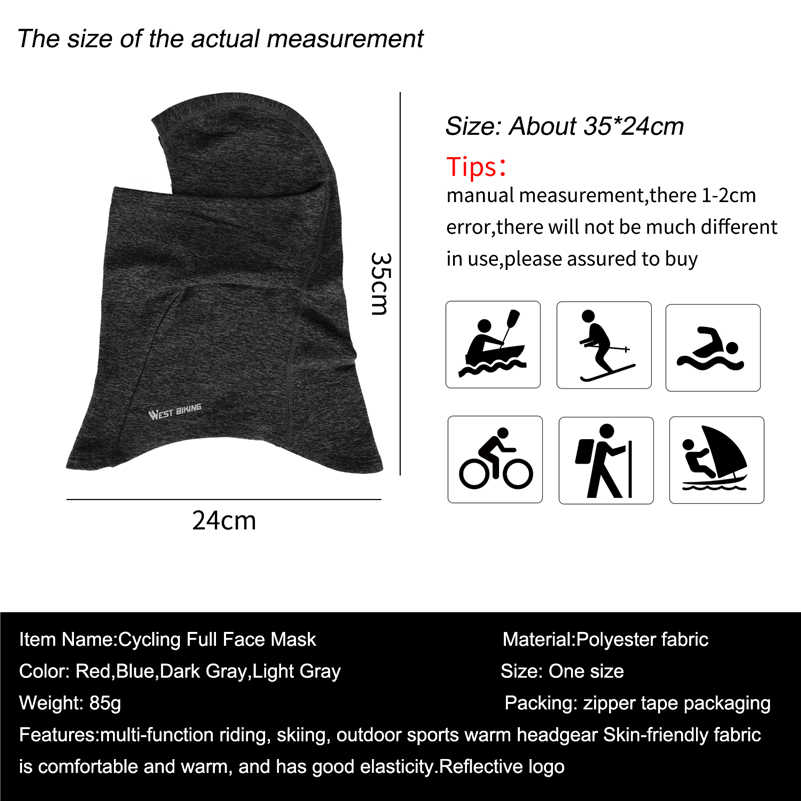 West Bersepeda Wajah Penuh Masker Hangat Helm Liner Mengendarai Sepeda Snowboard Windproof Syal Topi Hangat Musim Dingin Wajah Shield Cap Topi