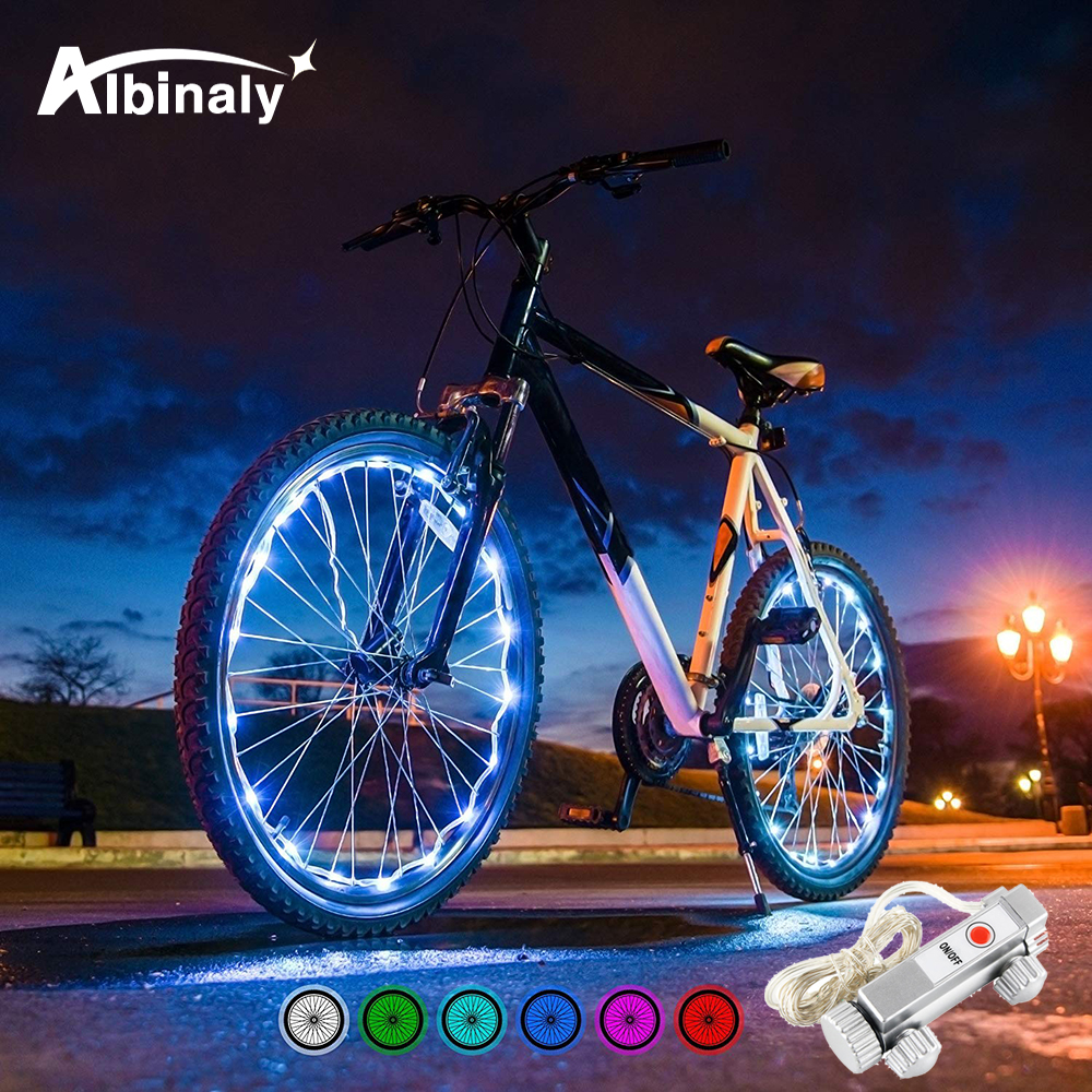 Waterproof 20LED Bicycle Spoke Light 6 Color String Night Riding Decorative Lights Safety Warning Lights Bicycle Accessories