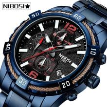 NIBOSI 2020 Men Watches Top Brand Luxury Formal Waterproof Male Clock Chronograph Full Steel Sport Watch Men Relogio Masculino