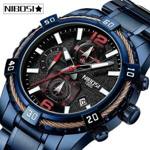 Image 1 - NIBOSI 2020 erkekler saatler üst marka lüks resmi su geçirmez erkek saat Chronograph tam çelik spor İzle erkekler Relogio Masculino