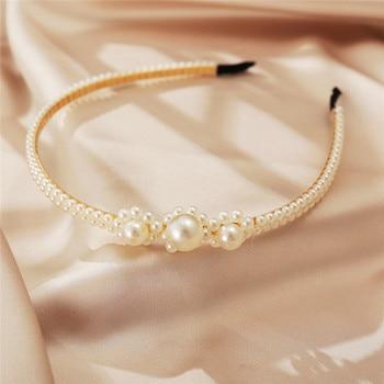 New Women Elegant Full Pearls Simple Hairbands Sweet Headband Hair Hoops Holder Ornament Head Band Lady Fashion Hair Accessories 5