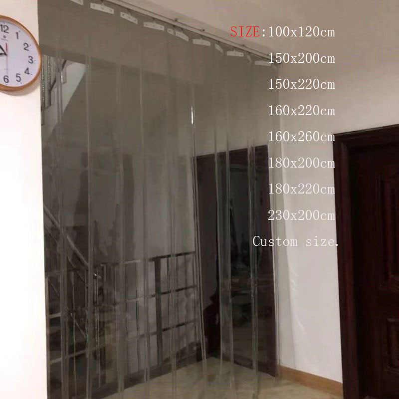 nouveau rideau coulissant en plastique pvc transparent coupe vent pour rideau de porte isolation avec accessoires taille personnalisable