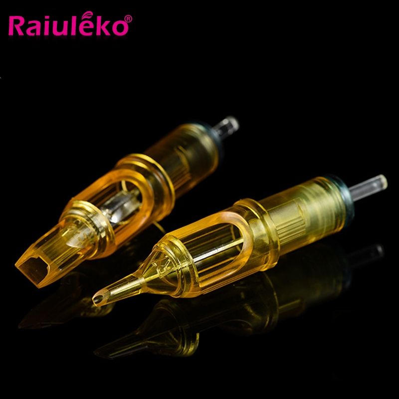 10 Pcs/Lot 3/5/7/9/11/14RS Disposable Semi Permanent Golden Round Tattoo Needle Eyebrow Needle Tattoo Machine Kit  Microneedles