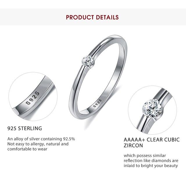 SILVERHOO 925 Sterling Silver Rings for Women Cute Zircon Round Geometric 925 Silver Wedding Ring Fine Jewelry Minimalist Gift 4
