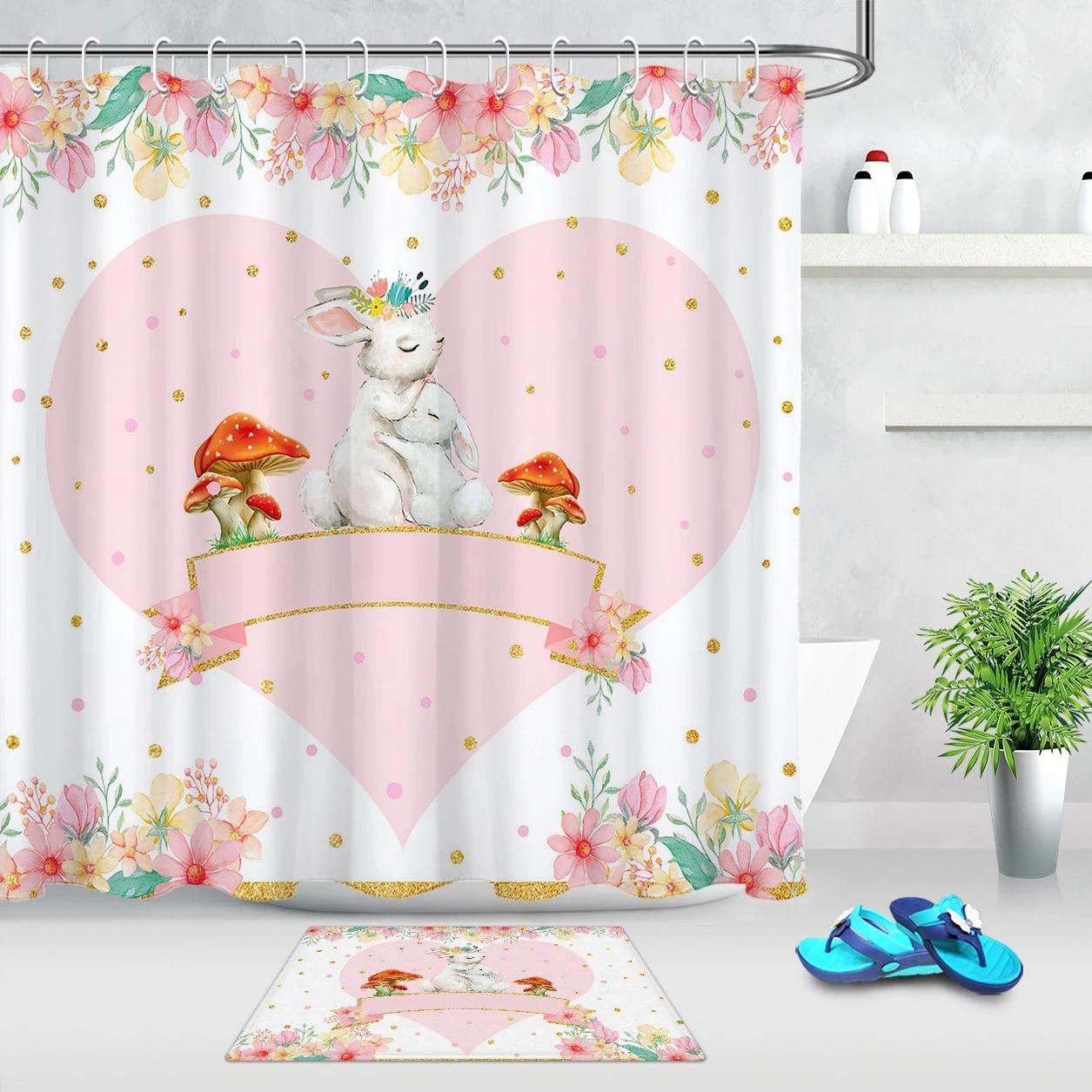 cartoon animals rabbit shower curtain pink love flower mushroom waterproof fabric bathroom bath curtains mother s day gift