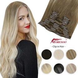 Наращивание волос Moresoo на клипсе, 10-24 дюйма, машинка для наращивания, человеческие волосы без повреждений, бразильский двойной уток, полный н...