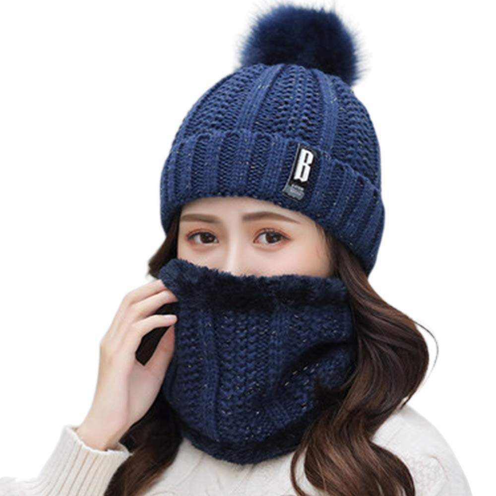 Knitted Mens Winter Beanies Hats Fleece Skull Peaked Caps Scarf Face Mask Wool Warm Skullies
