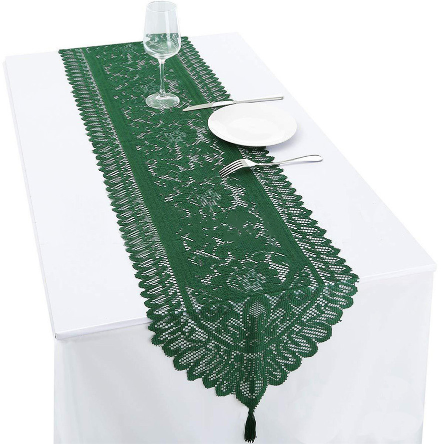 Table Runner Lace 33x180cm Tri-color Tricot Lace Table Flag Wedding Party Decoration Tablecloth White Green Red D26#30