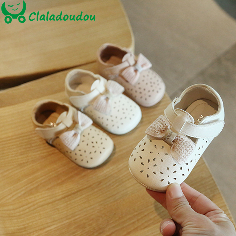 11.5-13.5cm Baby Toddler Shoes Infant Girls Hollow Bow Spring Autumn 0-2Years Old Baby Princess Leather Shoes Toddler Girl Shoes