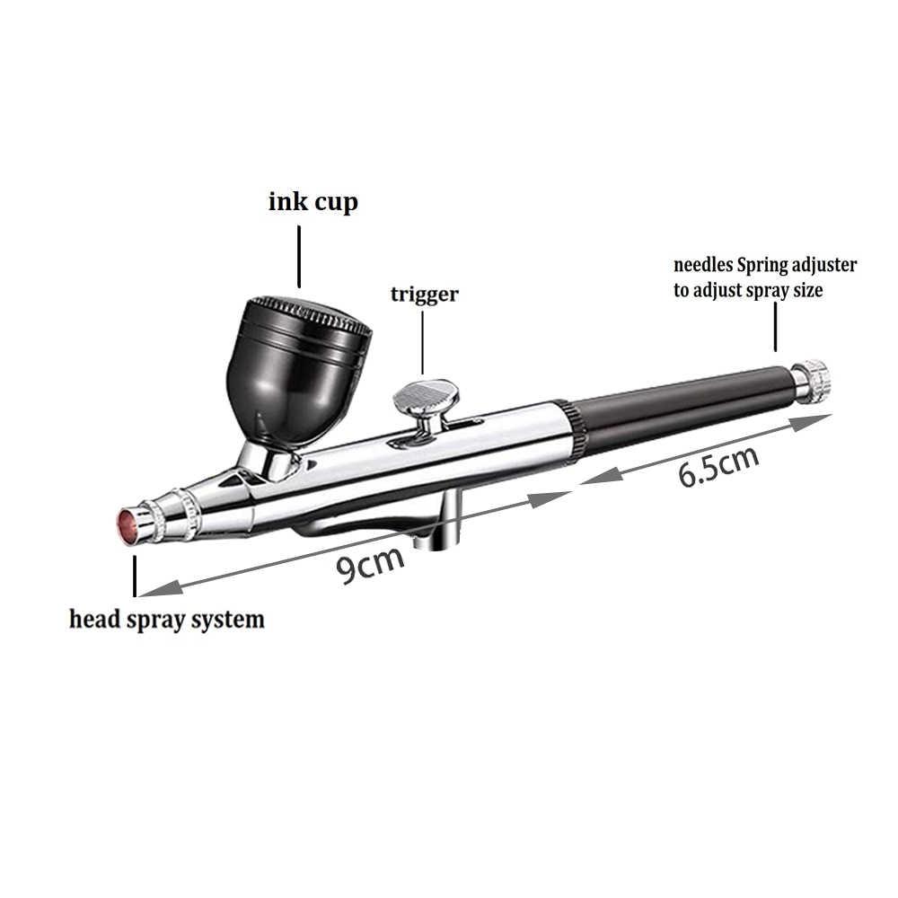 充電式ポータブルデュアルアクションエアブラシキットワイヤレス空気圧縮機スプレーガン化粧芸術爪ケーキ一時的なタトゥーマシン