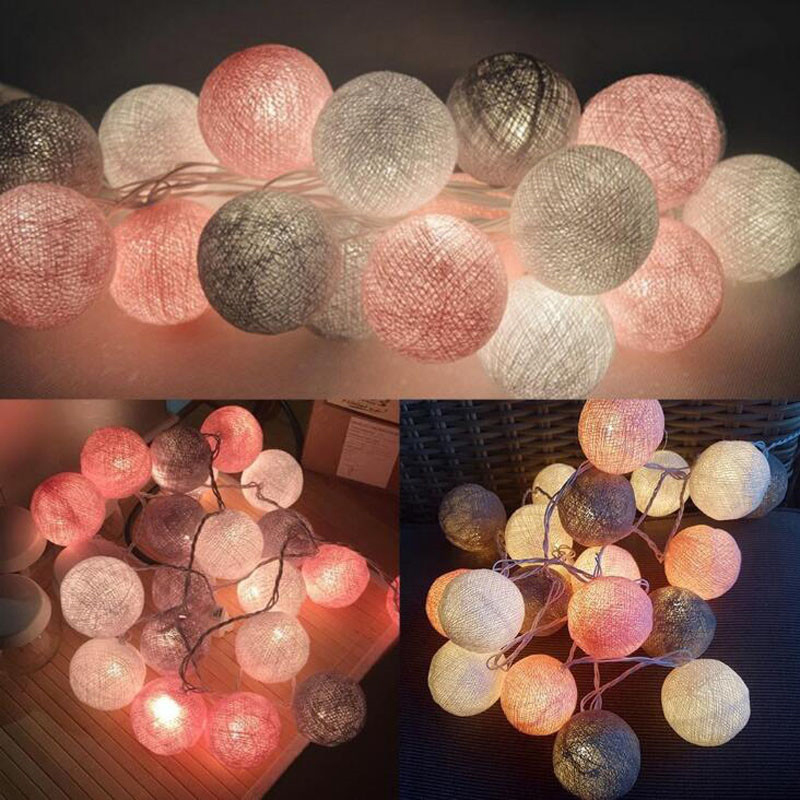 QYJSD 3M LED Cotton Garland Ball Light String Outdoor Holiday Wedding Christmas New Year Party Baby Bed Fairy Lights Decoration