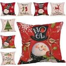 2019 New Merry Christmas Snowman Pillow Cover Christmas Home Decorative Pillowcase  Cotton Linen Throw Pillow Case Cover or16