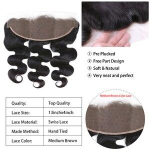 Image 5 - Kraliçe saç ürünleri vücut dalga şeffaf dantel Frontal kapatma 13x4 brezilyalı bakire saç doğal renk % 100% İnsan saç