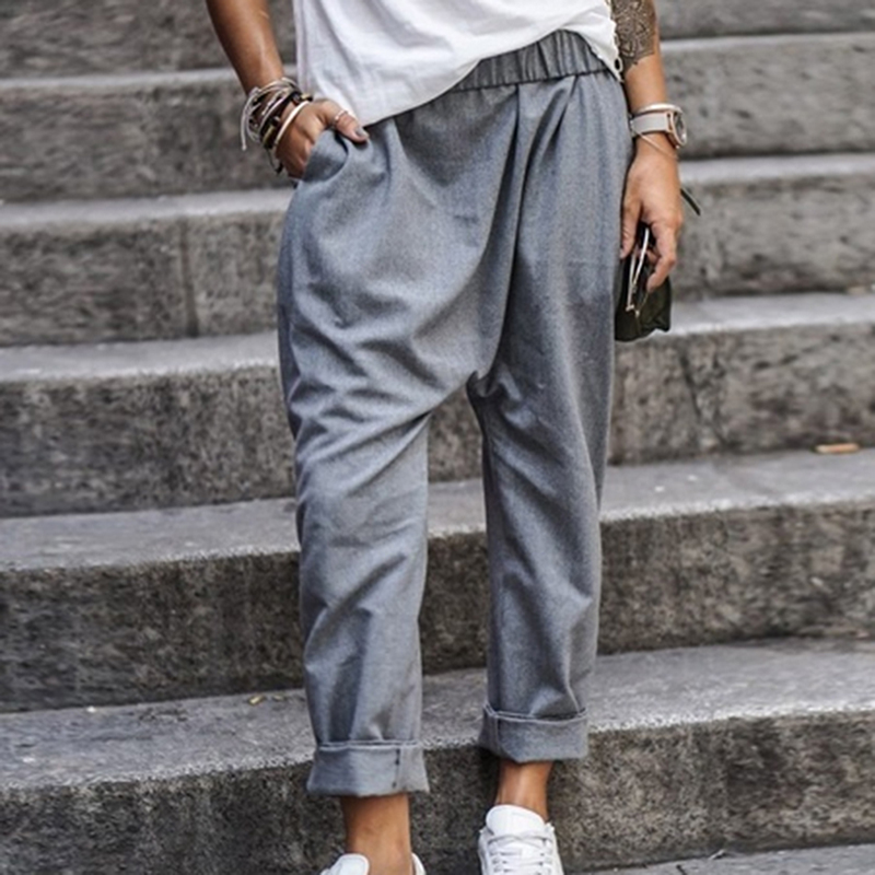 Women Cotton Blend Pants Oversized 2020 Autumn Casual Pant Loose Lady Cotton Pant Solid Color Female Harem Pants