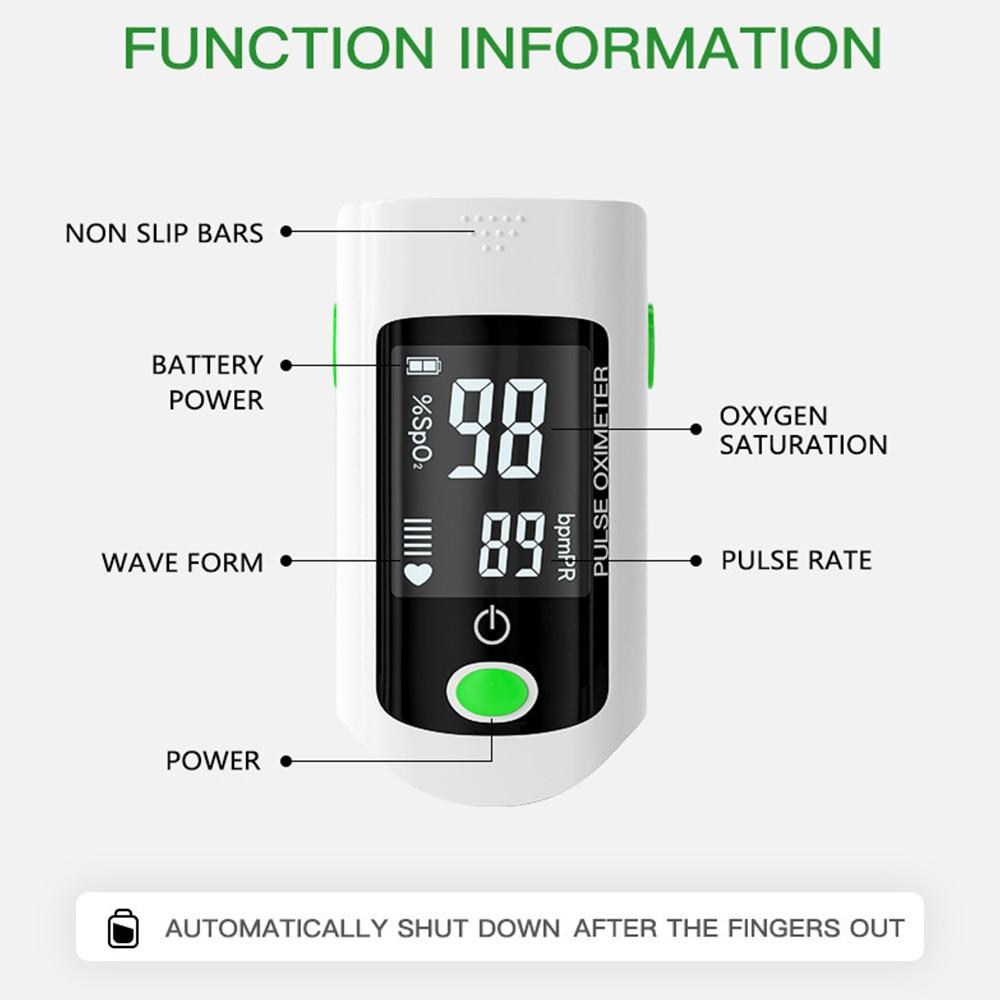 Blood Oxygen Finger Pulse Digital Fingertip Oximeter Oxygen Saturation Meter Finger Monitor CE Portable Oximetro (No Battery)