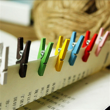 50pcs 2.5CM Random Colored Spring Wood Clips Clothespin Craft Clips Party Decoration Clothes Photo Paper Peg Pin