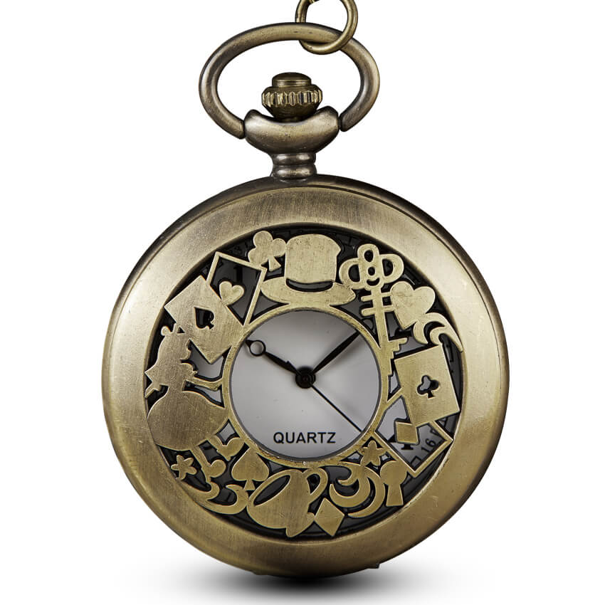 Alice in Wonderland Quartz Pocket Watch Chains Necklace Pendant Key Rabbit Fob Vintage Watches Steampunk Gifts Reloj De Bolsillo