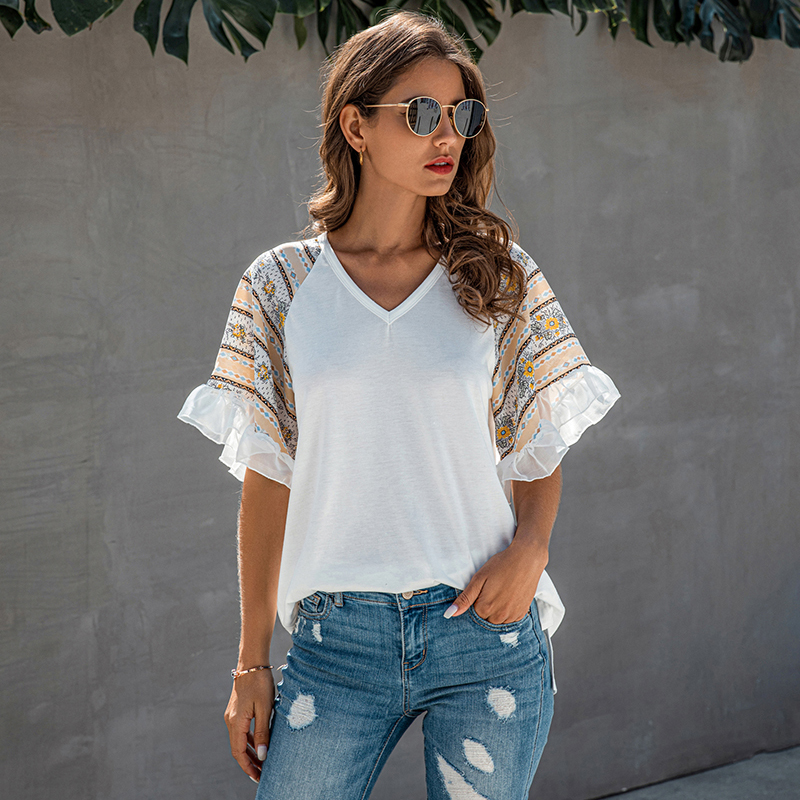 2020 Women's Summer t Shirt Patchwork Floral Print Loose Half Butterfly Sleeve V Neck Female Casual T-Shirts Ladies Tops 1