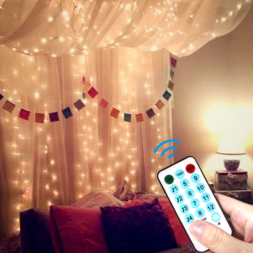 3x3m Remote Control USB Led String Light Christmas Garland 300 LED Curtain Fairy Lights Indoor Home For Wedding/Party Decoration