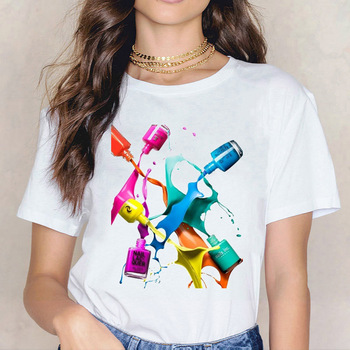 Camiseta blanca con estampado para mujer, Camiseta de cuello redondo para mujer,...