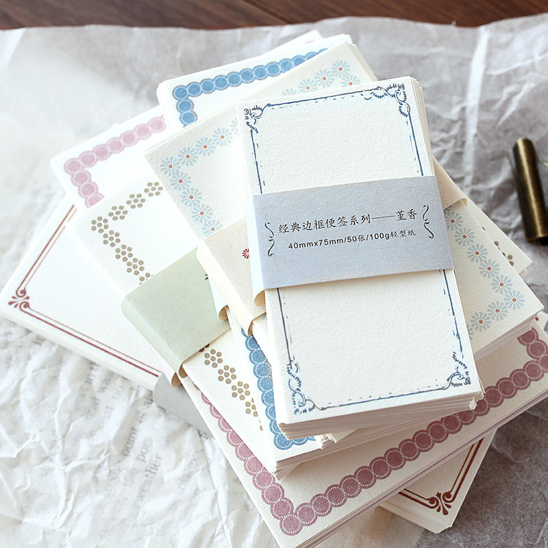 1 Pack Classic Vintage Border Note Series Cute Memo Pad Diary Stationary Flakes Scrapbook Decorative DIY Bullet Journal