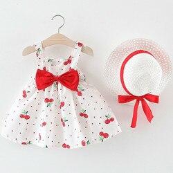 Bebê meninas vestidos 2019 verão crianças roupas chapéu 2 peças conjunto bebê sem mangas festa de aniversário princesa vestido impressão
