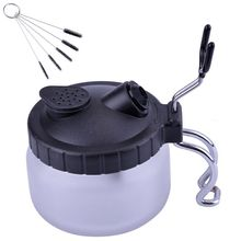 Airbrush Cleaning Pot,Clean Paint Jar With Air Brush Holder+Nozzle Cleaning Brush Set