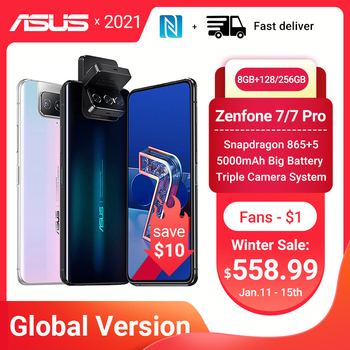Перейти на Алиэкспресс и купить Глобальная версия ASUS Zenfone 7/7 Pro 5G Смартфон Snapdragon 865/865 плюс 8 Гб Оперативная память 128/256 Встроенная память 5000 мАч батарея Android Q 90 Гц NFC