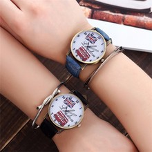 Women Bus & UK Flags Watch Fashion Ladies Jeans Band Watch C