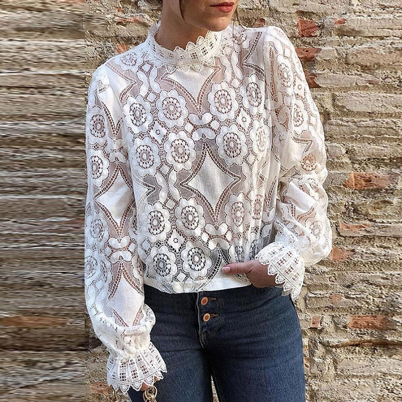 Sexy Lace Perspective Tops Women Casual Solid Floral Turtleneck Hollow Out Wild Tees Elegant White Ladies Fashion Soft T-shirts