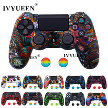IVYUEEN New Silicone Skin For Dualshock 4 Sony PlayStation 4 PS4 Pro Slim Controller Case & Analog Grips Stick Caps Accessories