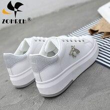 Повседневные женские кроссовки; 2019; Модные туфли со стразами на платформе; Белые кроссовки для женщин, обувь на платформе из дышащей искусственной кожи пу; Теннисные туфли; Женская обувь