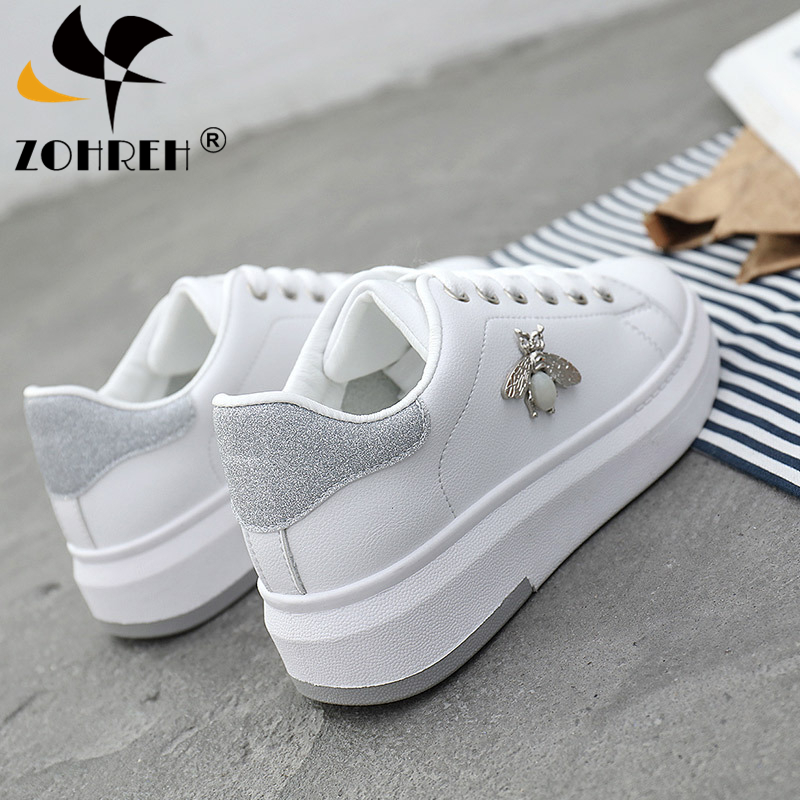 Casual Shoes Women Sneakers 2019 Fashion Rhinestone Platform White Sneakers For Women Breathable PU Leather Shoes Tennis Female-in Women's Flats from Shoes