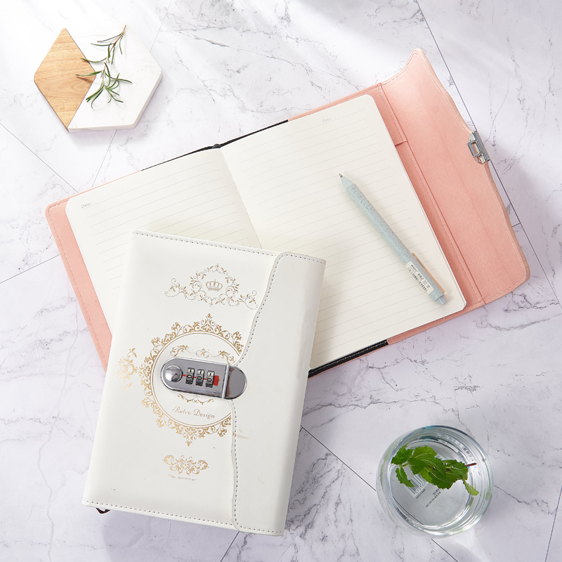 A5 Vintage Password Notebook Creative Student Diary Notebook With Lock Thicken Refillable Planner Journal Agenda Code Notebook