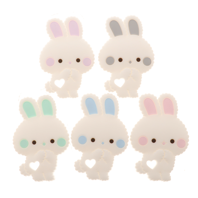 Fkisbox 5pcs Rabbit SILICONE Bunny Baby Teether Non BPA Infant Biting Teething Pendant Chewable Feeding Toys Pacifier Chain DIY