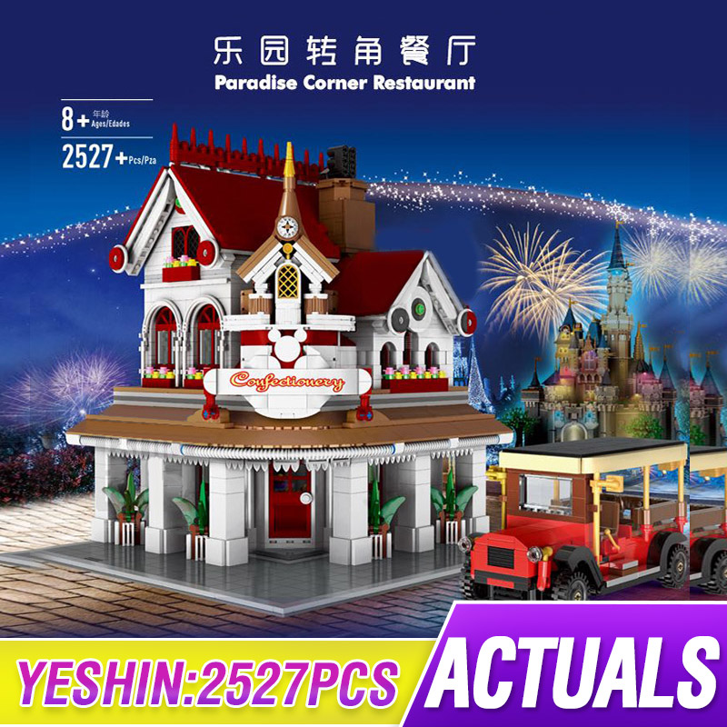MOC Parisian Restaurant Corner Creator Street View Model Building Blocks Bricks Compatible Lepining 10243 Kids Education Toys