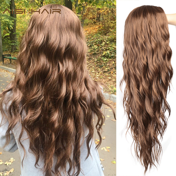 AISI HAIR  Long Wavy Black Wigs Brown and Red Wave Synthetic Wig for Women Natural Middle Part Heat Resistant Hair 1