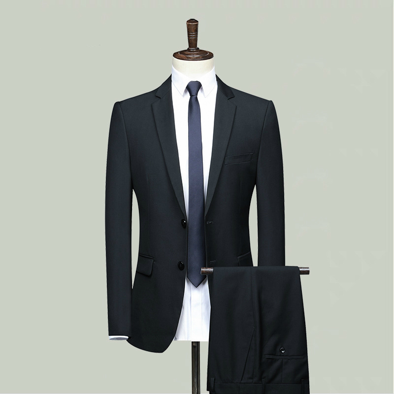 Fashion Black Dress Suit Men Business Suit Man Formal Suits Two Piece Set Suit Jacket And Suit Pants 2 Piece Set Male Plus Size