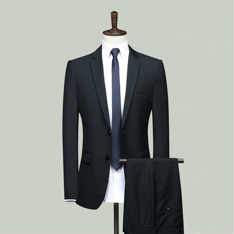 Fashion Black Dress Suit Men Business Suit Man Formal Suits Two Piece Set Suit Jacket And Suit Pants 2 Piece Set Male Plus Size
