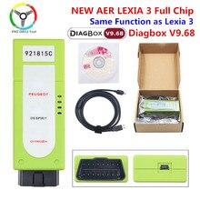 Nova aer lexia 3 completa chip de firmware 921815c diagbox v7.83 lexia3 obd2 para citroen para peugeot carro ferramenta de diagnóstico lexia 9.68