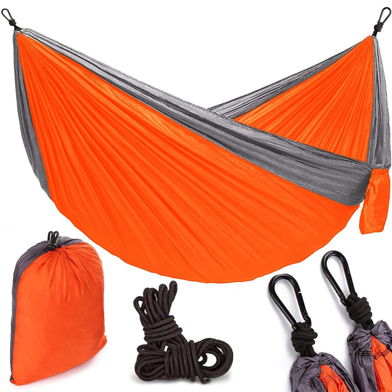 Place Of Origin Supply Of Goods Single Double 210 Sleeves Parachute Cloth Hammock Double Color Joint Nylon Taffeta Swing Outdoor