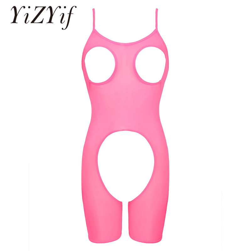 Womens Lingerie Bodysuit Open Cups Crotchless Teddy Bodysuit Bodystocking One-piece Mesh See-through Sheer Sexy Lingerie Women