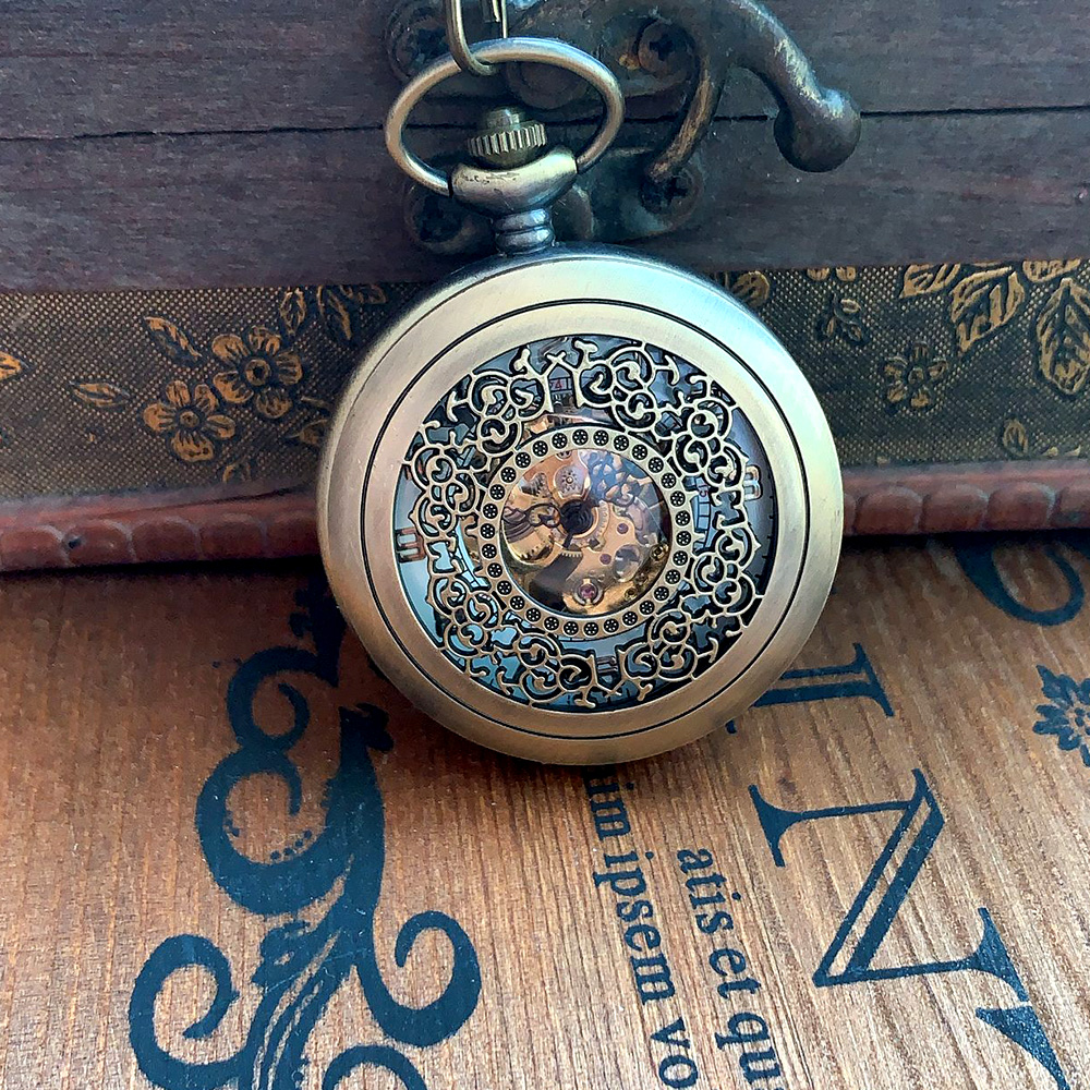 0 Bronze Creative Dense Flower White Digital Face Open Cover Mechanical Pocket Watch Men's And Women's Accessories With Necklace