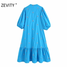 2020 women vintage lantern sleeve flower embroidery midi shirtdress female hem pleats vestidos chic casual loose dresses DS3436