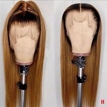 Poker Face-pelucas de malla con división, postizo liso, resaltado, 4/27 ombré, 13x1 T, línea de pelo prearrancado, encaje frontal 13x4, pelucas de cabello humano Remy