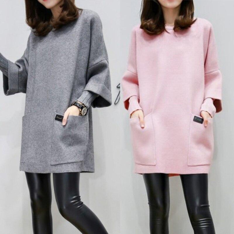 Plus Long Solid Pullover Sweatshirt Women Autumn Three Quarter Sleeve O-neck Korean Style Plus Size Sweatshirts With Pocket