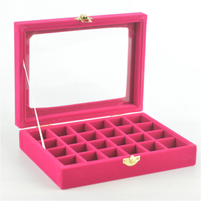 Velvet Small Jewlery Box Ring Necklace Ornament Show Plates Plaid Storage With Lid Jewelry Box